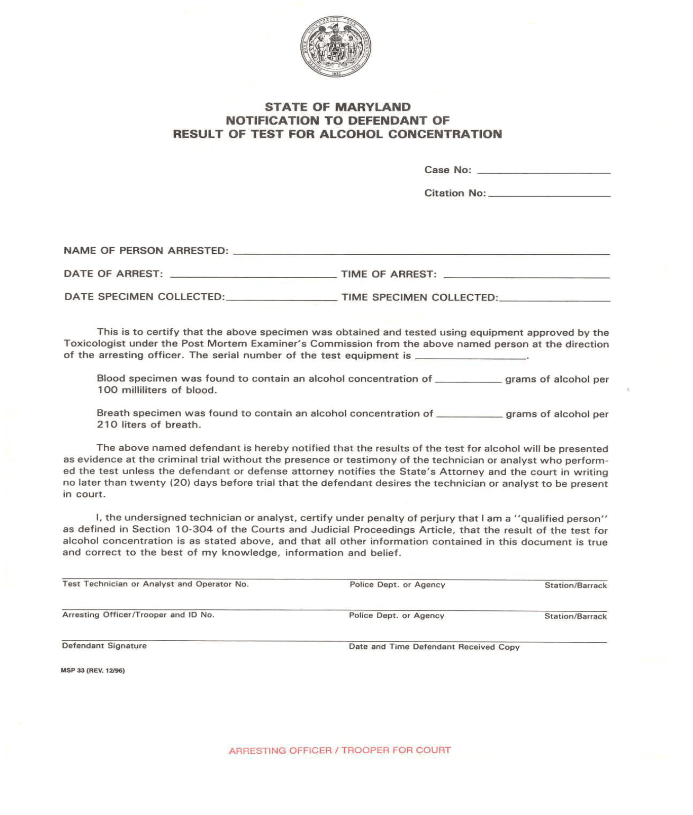 Notification to Defendant of Result of Test for Alcohol Concentration